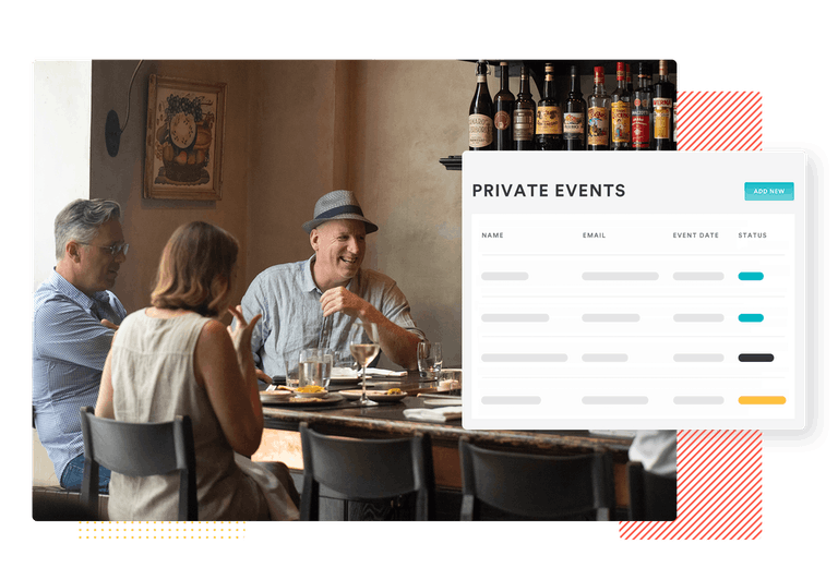 a composite image of a man sitting a table with the private event listings