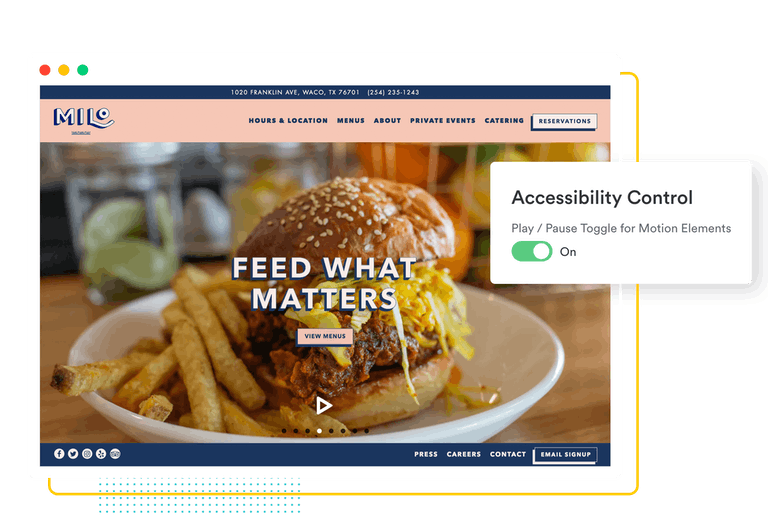 BentoBox website homepage with accessibility controls overlay