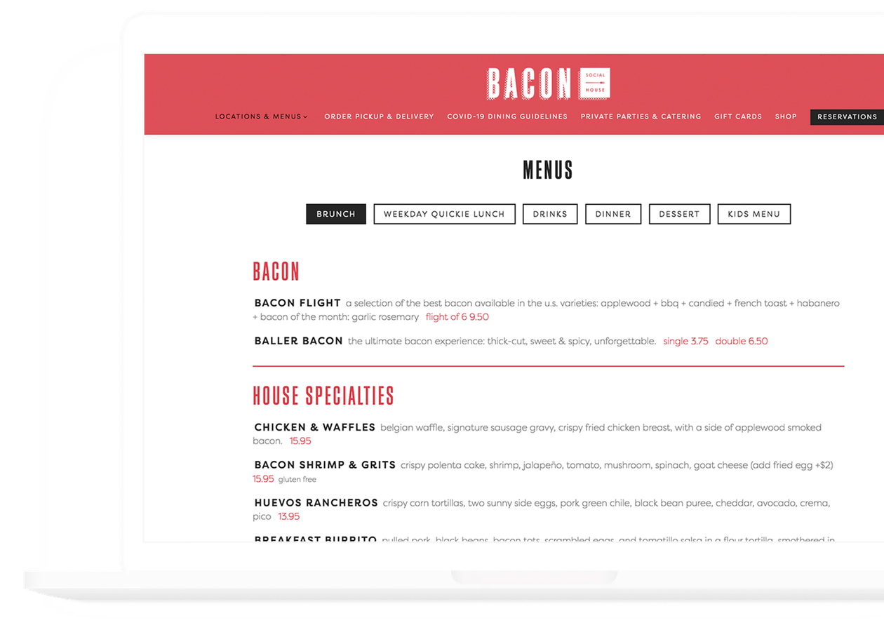 bacon social house menu - bentobox localsync case study