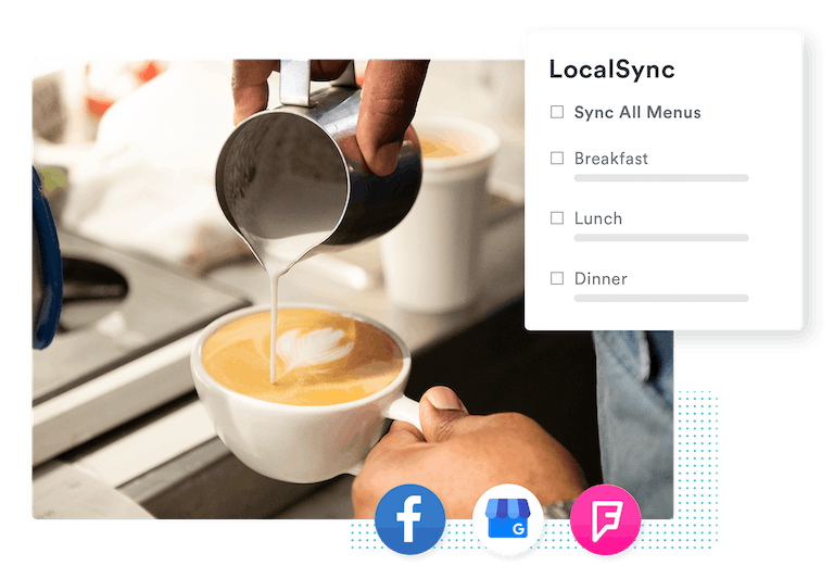 barista pouring milk in a latte with an overlay of BentoBox location management