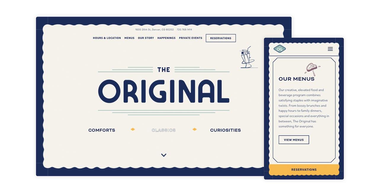 An example of a restaurant website