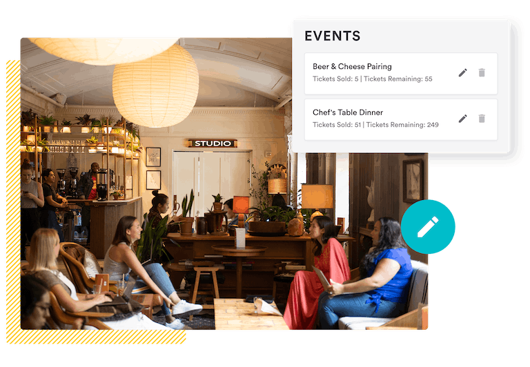 a composite image of diners and the bentobox event management tools