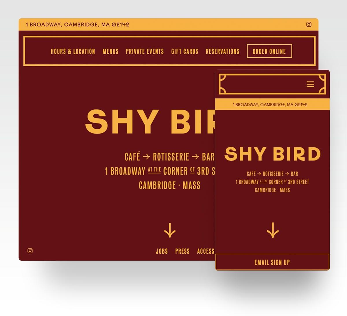 A screenshot of Shy Bird's restaurant website homepage.