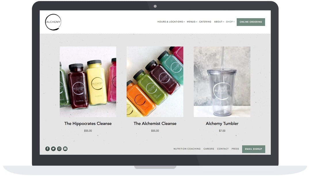 Alchemy Juice Cafe's online store on their website