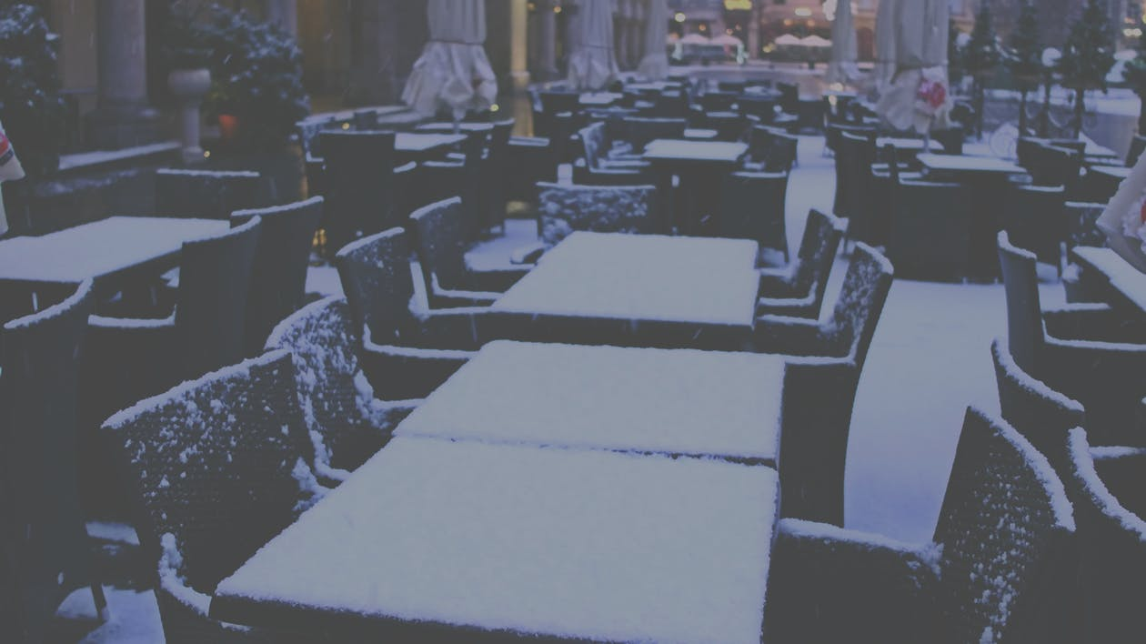 A picture of snow on a table.
