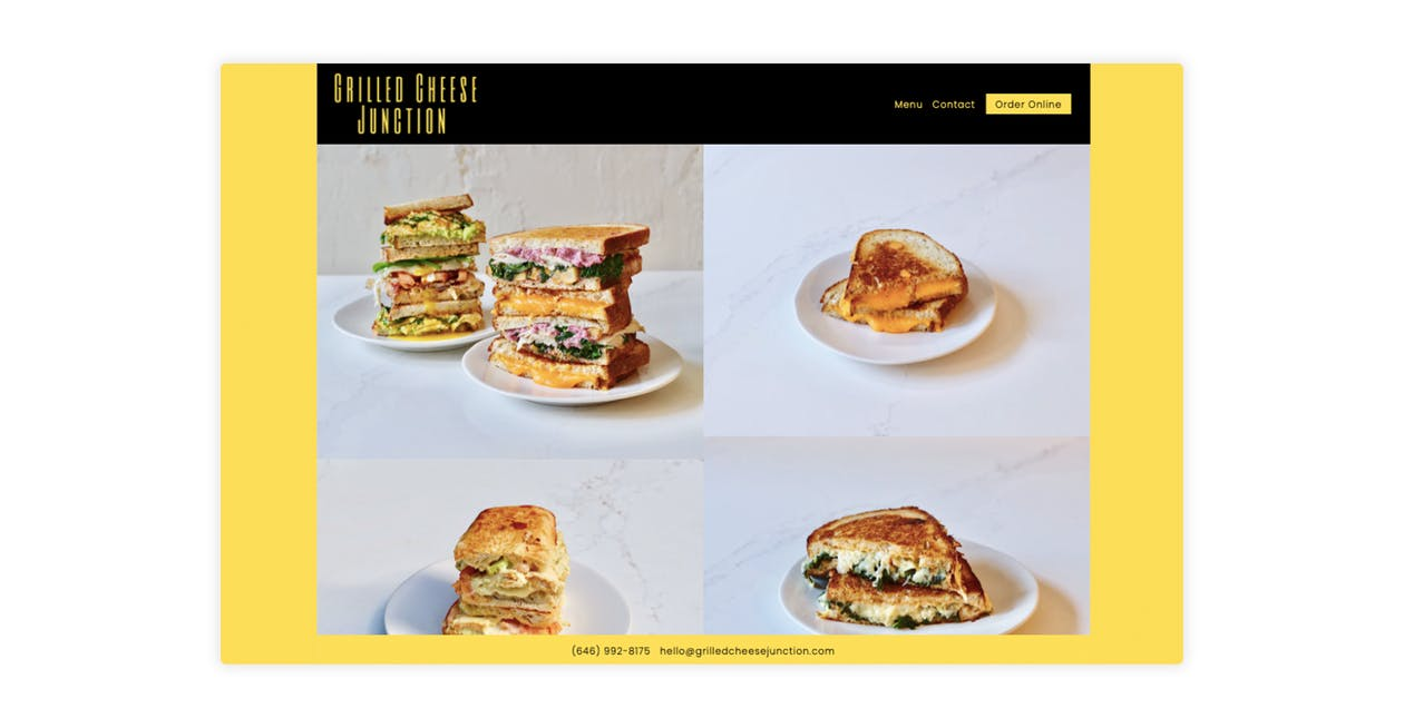 The website for Grilled Cheese Junction — a virtual restaurant