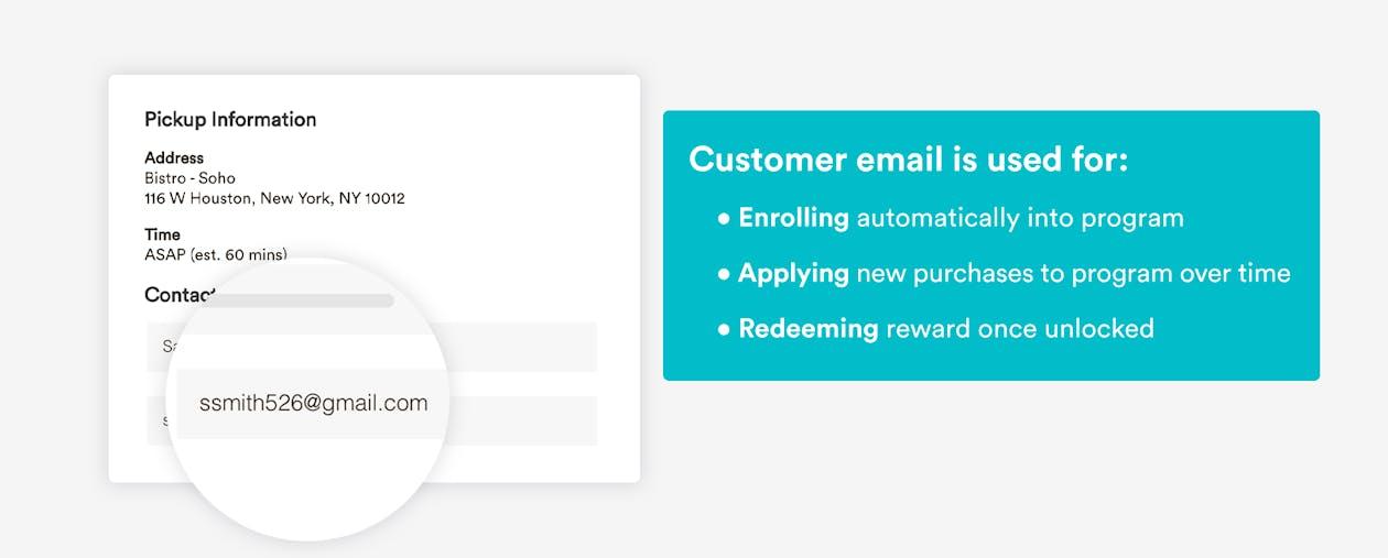 email address auto enroll loyalty program for restaurants by bentobox