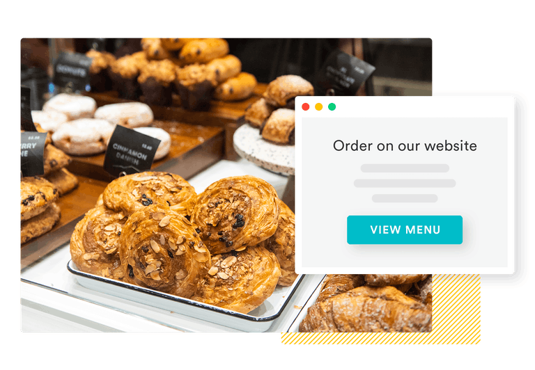 a composite photo of pastries and an order screen