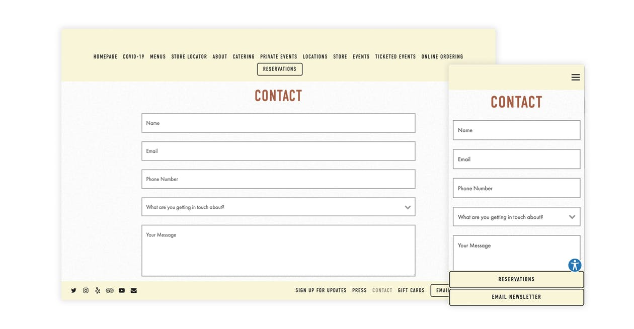 An example of a contact form on a restaurant website that's designed by BentoBox
