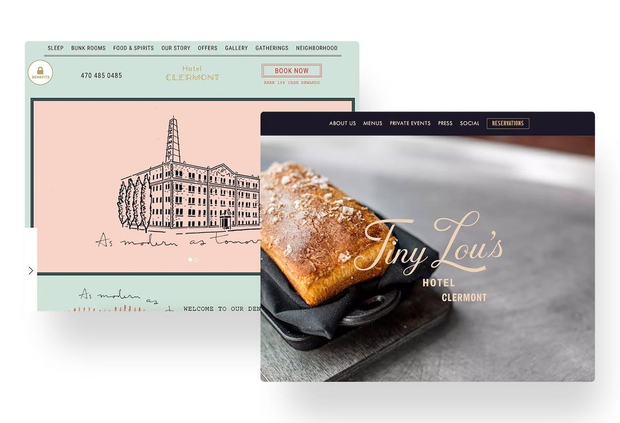 A screenshot of restaurant websites.