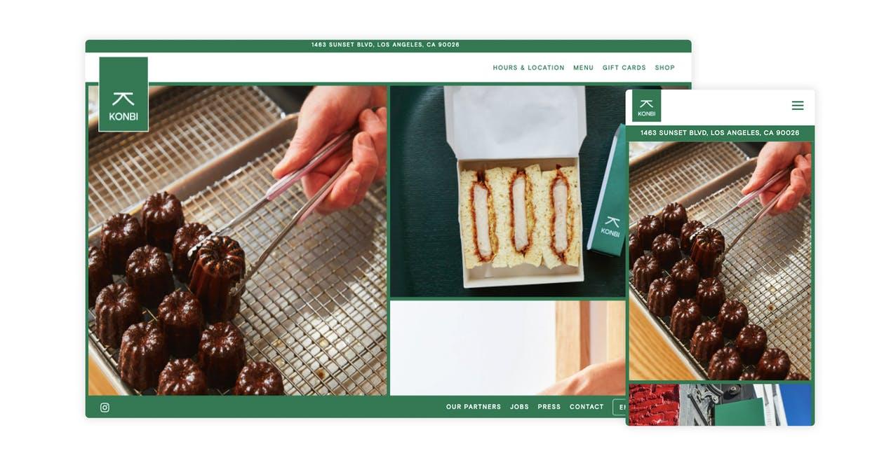 A screenshot of a restaurant website