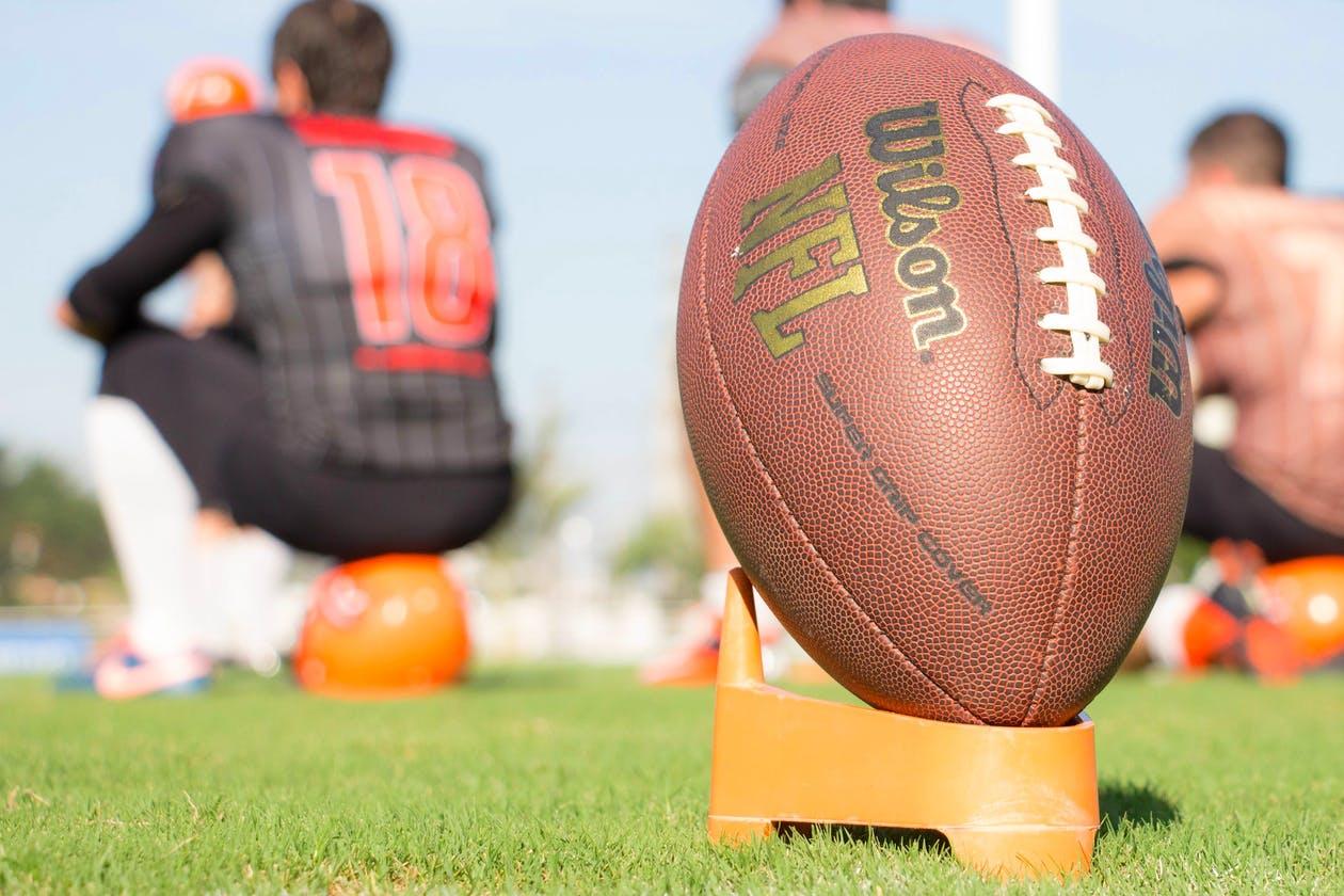 a close up of a football
