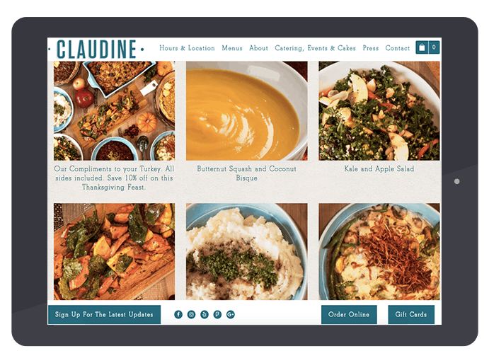 Claudine's online pre-order catering for their Sides and Pies Thanksgiving Special.