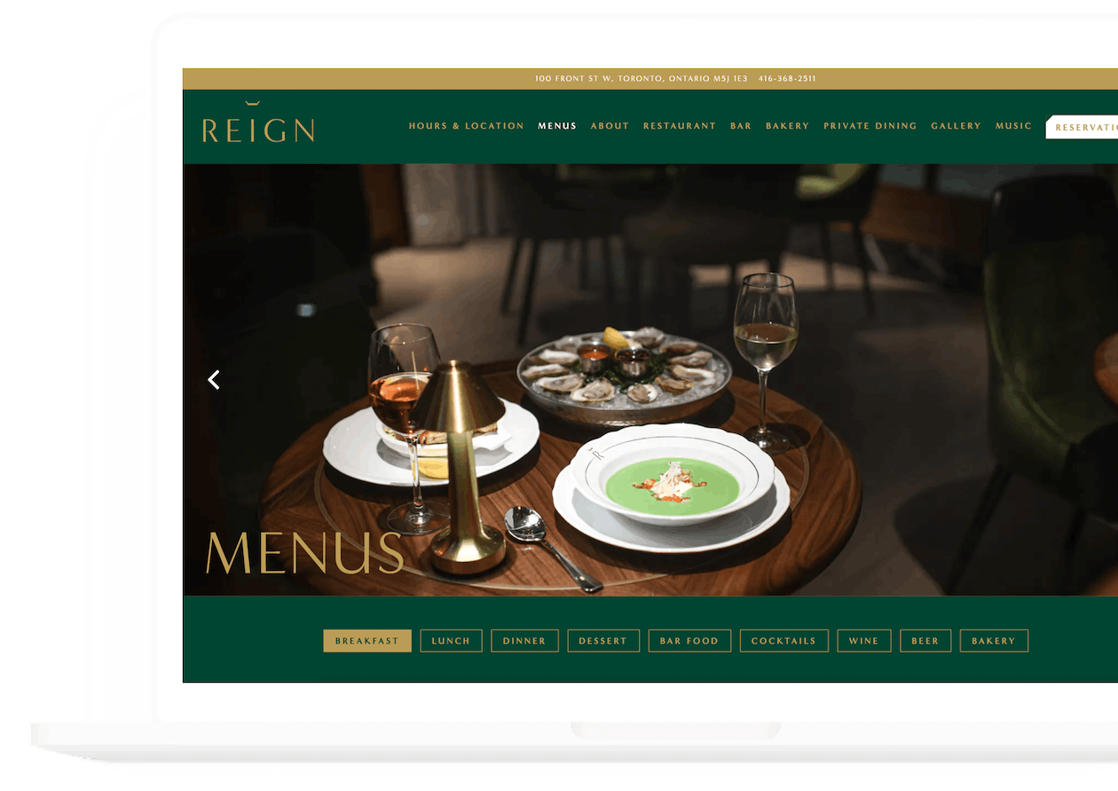 a screenshot of reign's website