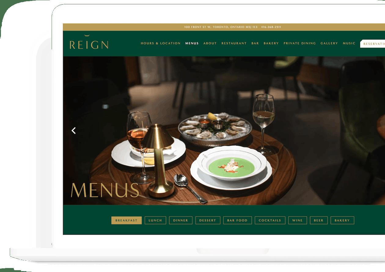 a screenshot of reign's website