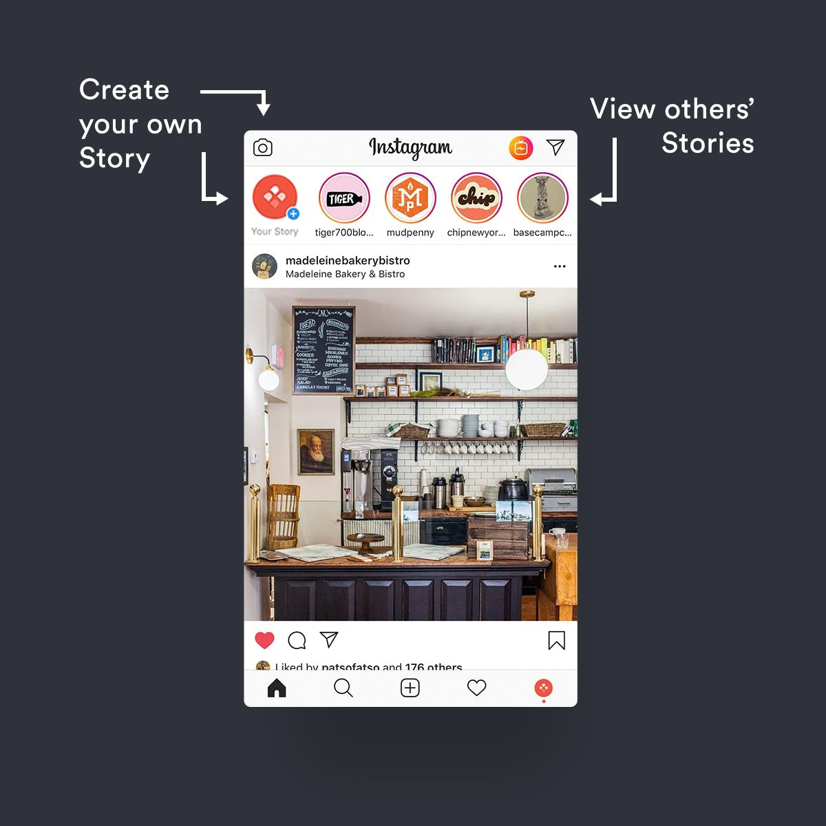 Where to create your own Stories or view others' Stories on your Instagram feed.
