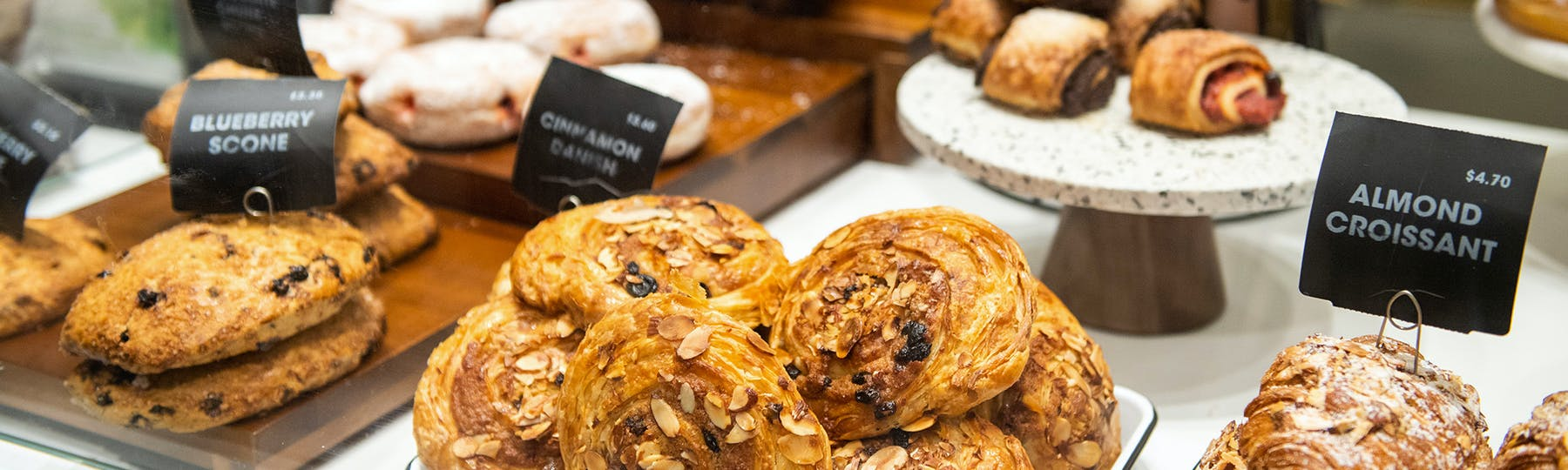 an assortment of pastries for sale
