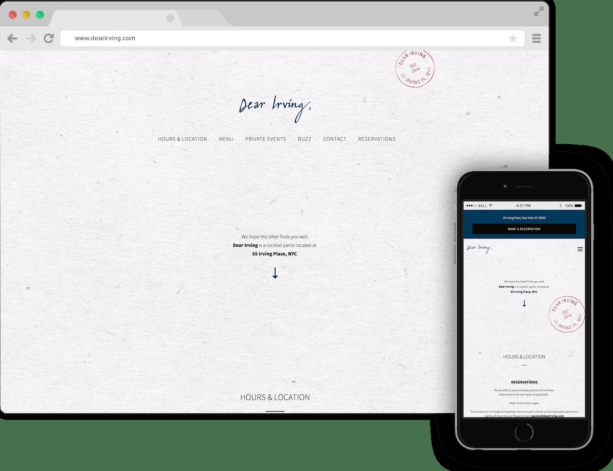 a screenshot of Dear Irving website