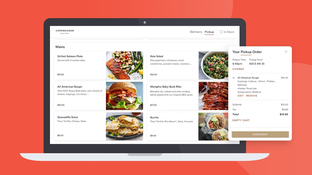 Desktop view of BentoBox's online ordering platform with a callout of an order