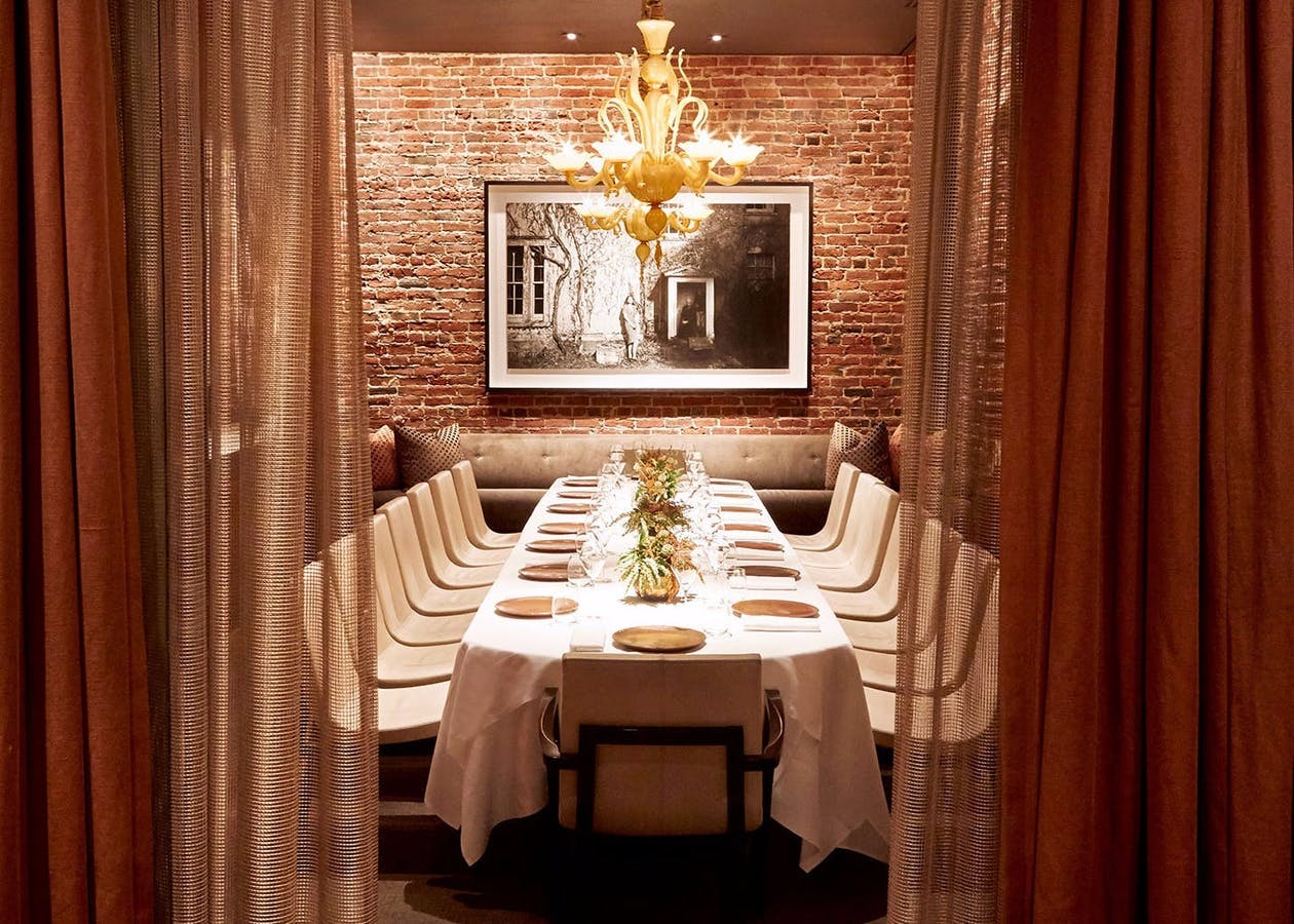 The elegant private dining room inside Quince.