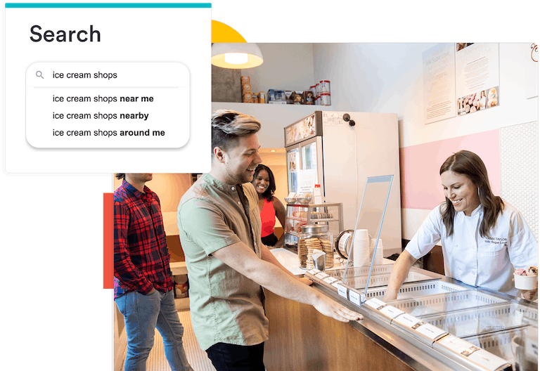 a composite image of a person at an ice cream store and a search bar