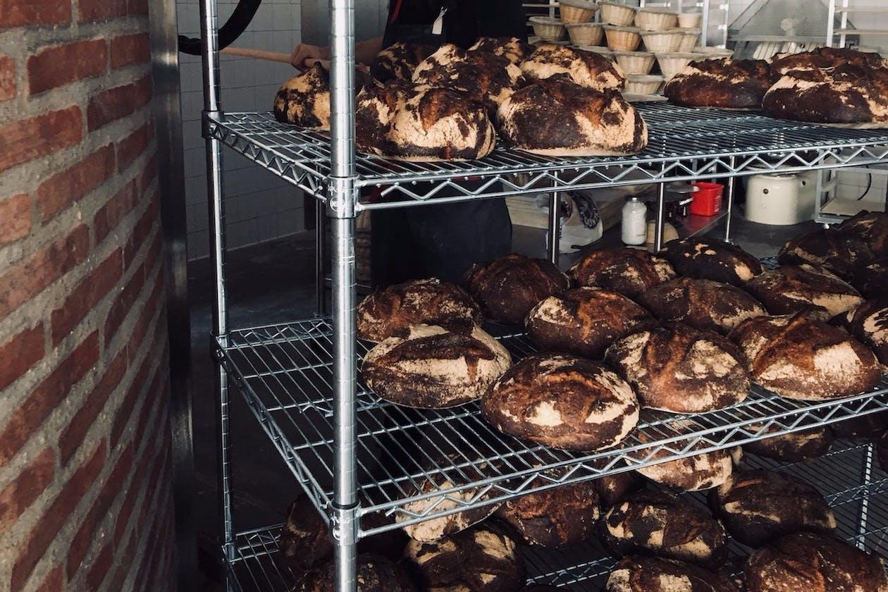 a baked bread on a rack