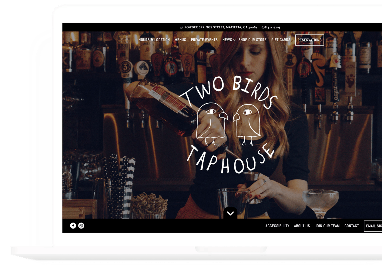 a screenshot of two birds taphouse's website