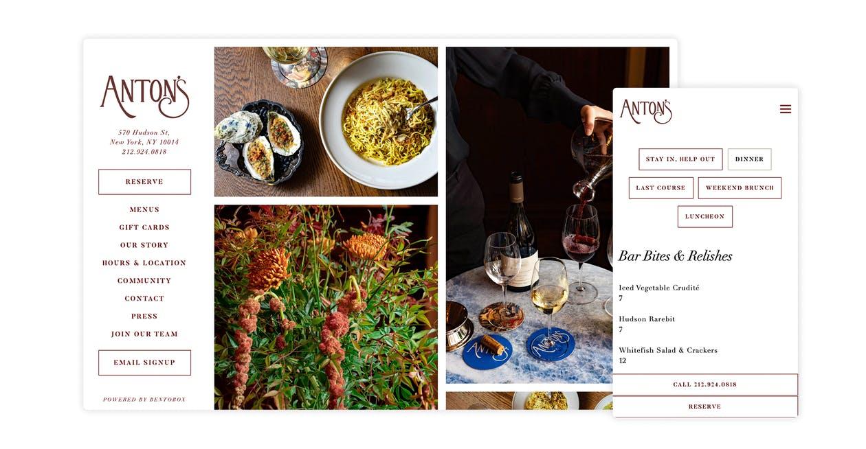 A screenshot of Aton's restaurant website
