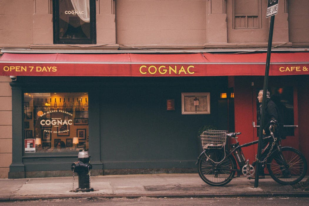 Entrance to Brasserie Cognac in New York City