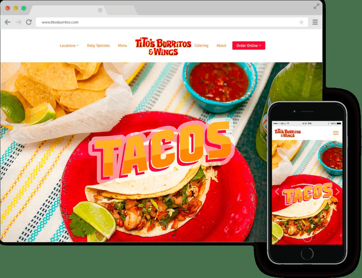 Screenshot of Titos' Burritos & Wings website