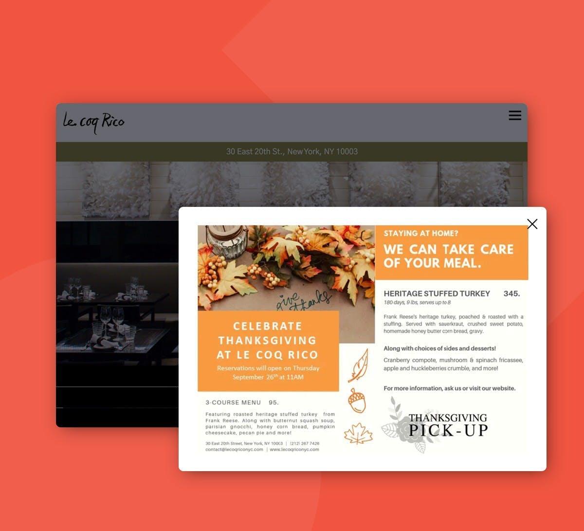 a screenshot of Le Coq Rico holiday menu