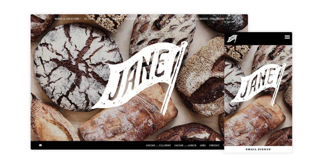 A screenshot of a bakery website.