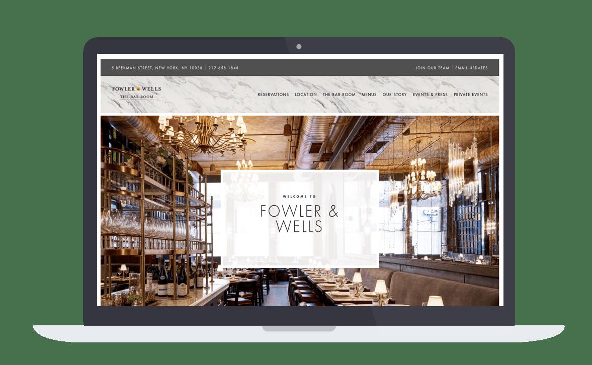 a screen shot of a restaurant website on a computer