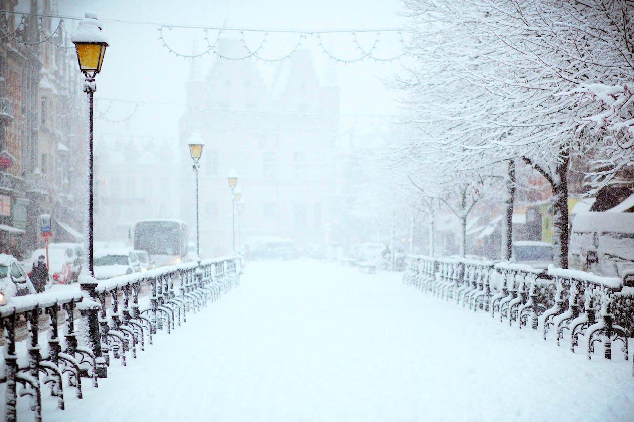A snowy city street.