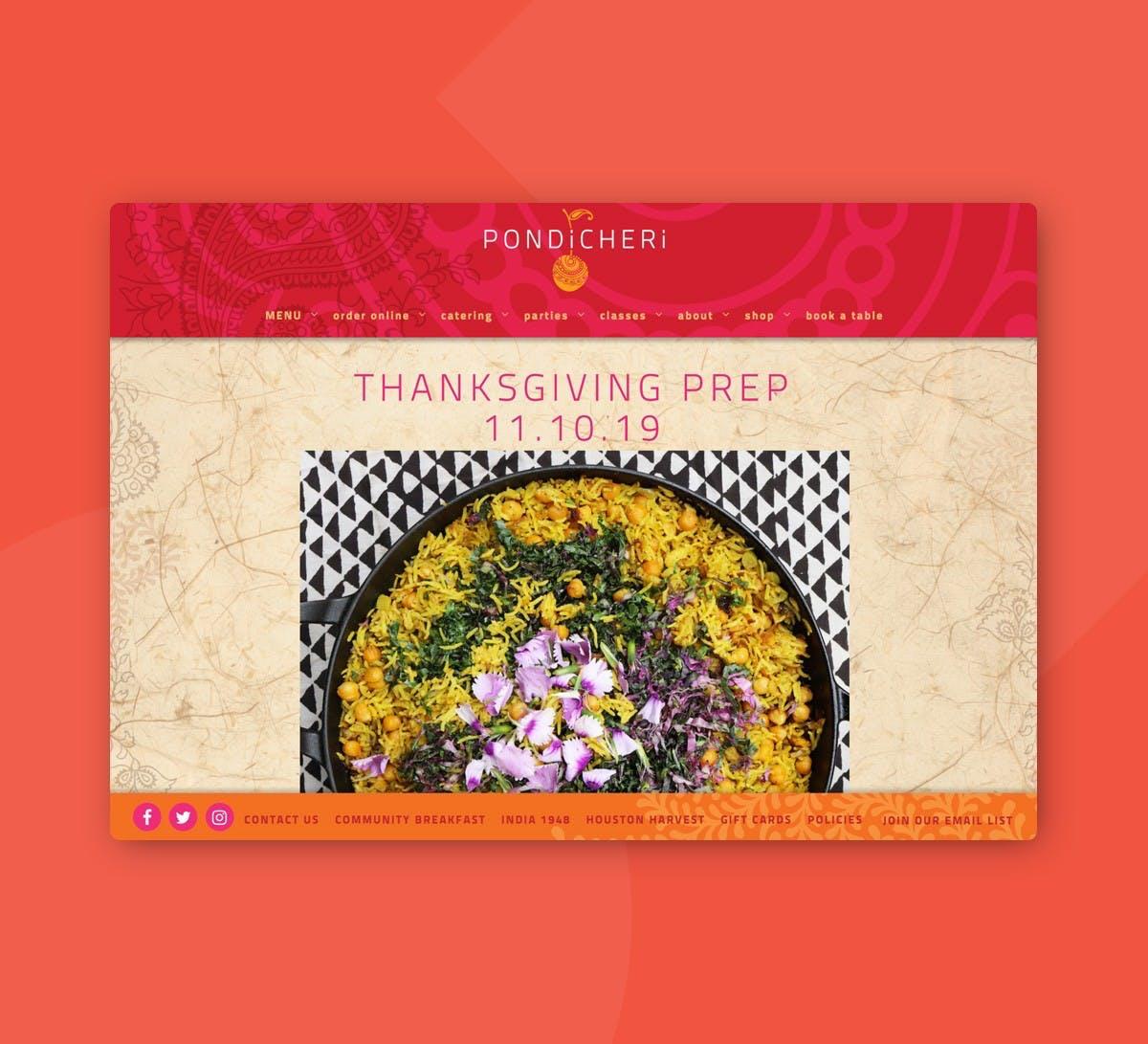 Pondicheri's Thanksgiving Prep event page