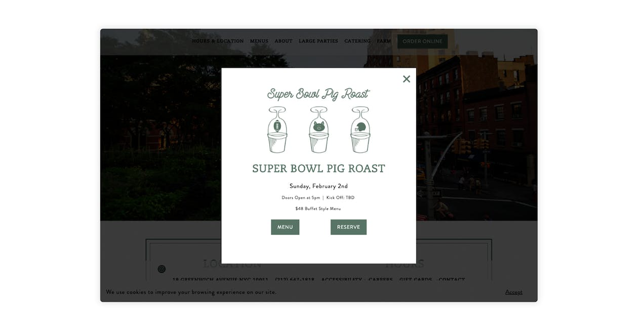 Rosemary's promoted its Super Bowl Pig Roast menu via a popup alert on their homepage.