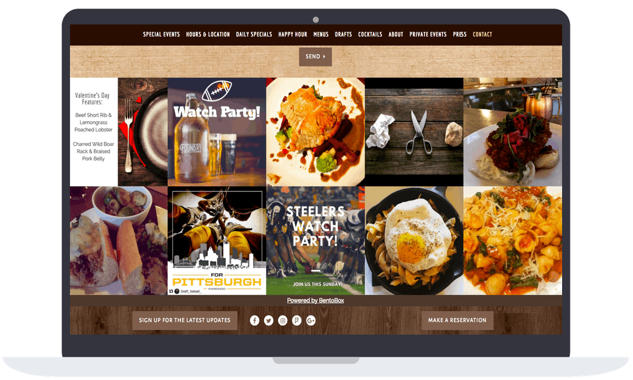 a screen shot of a restaurant website on a computer.