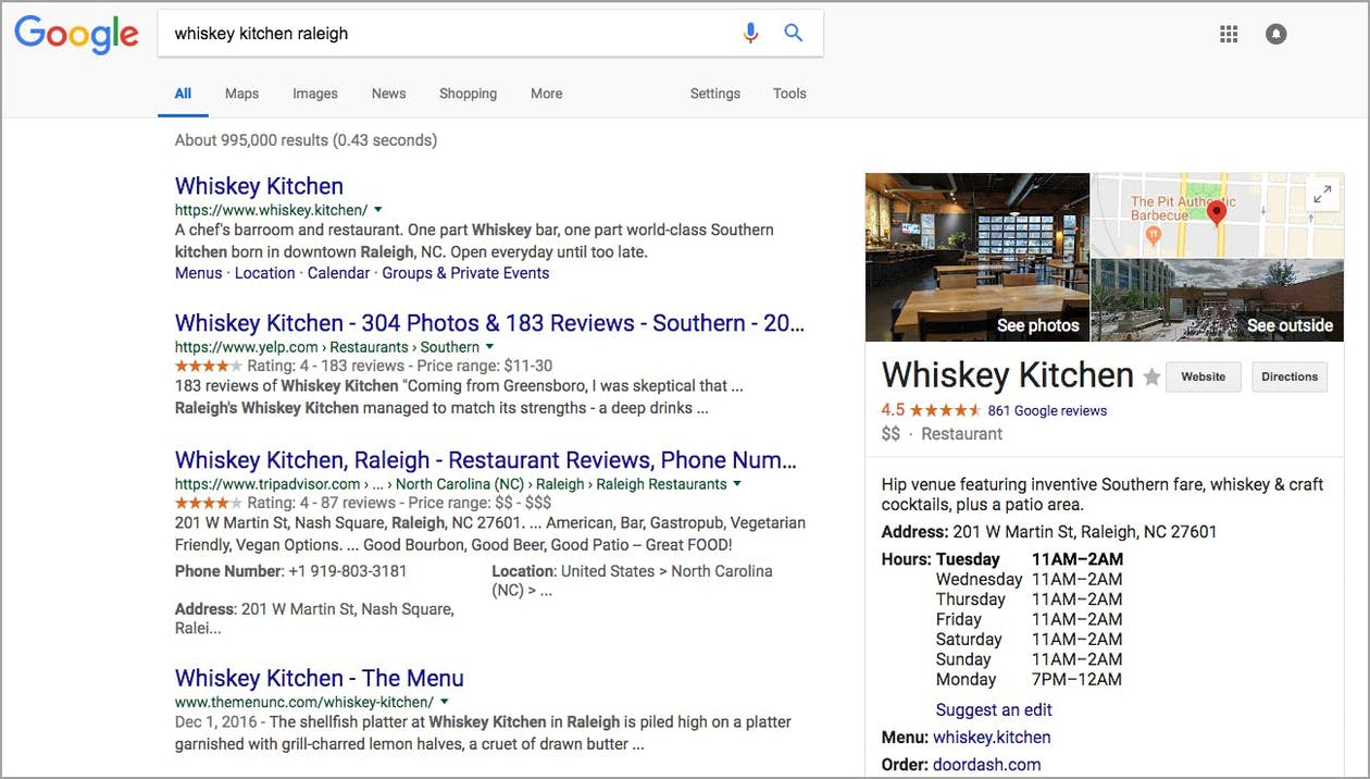 Whiskey kitchen's Google My Business results