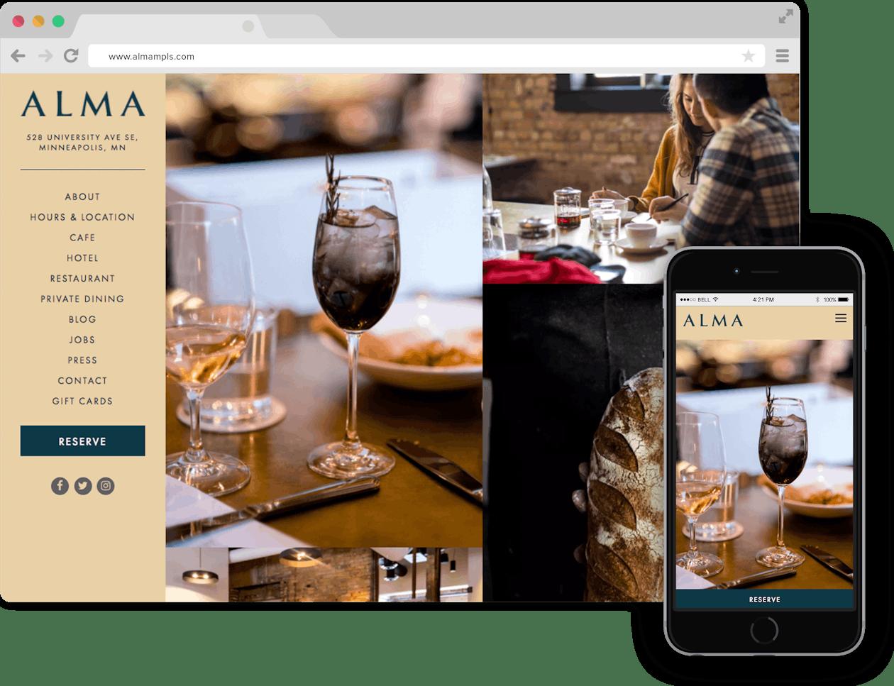 a screen shot of Alma website