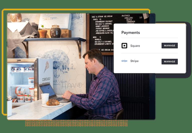 Team member using laptop at cafe with screenshots of BentoBox payment integrations
