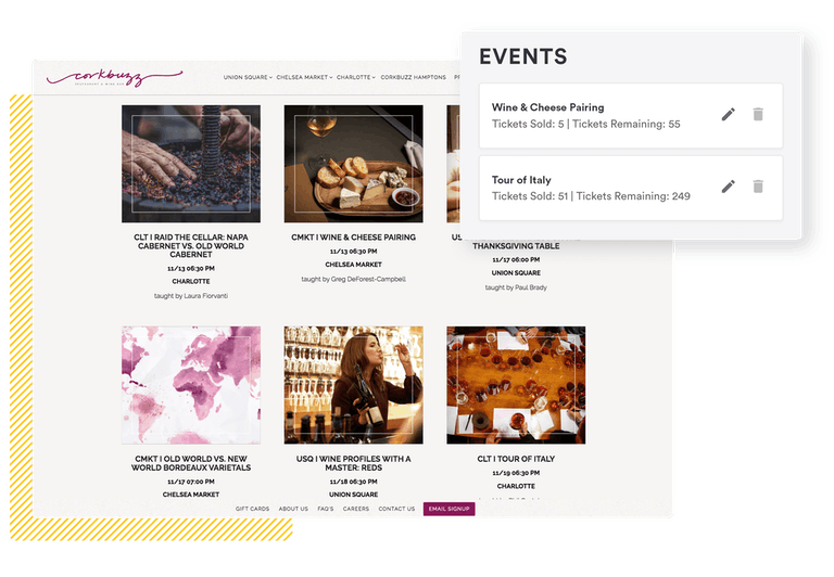screenshot of BentoBox event features on frontend and backend