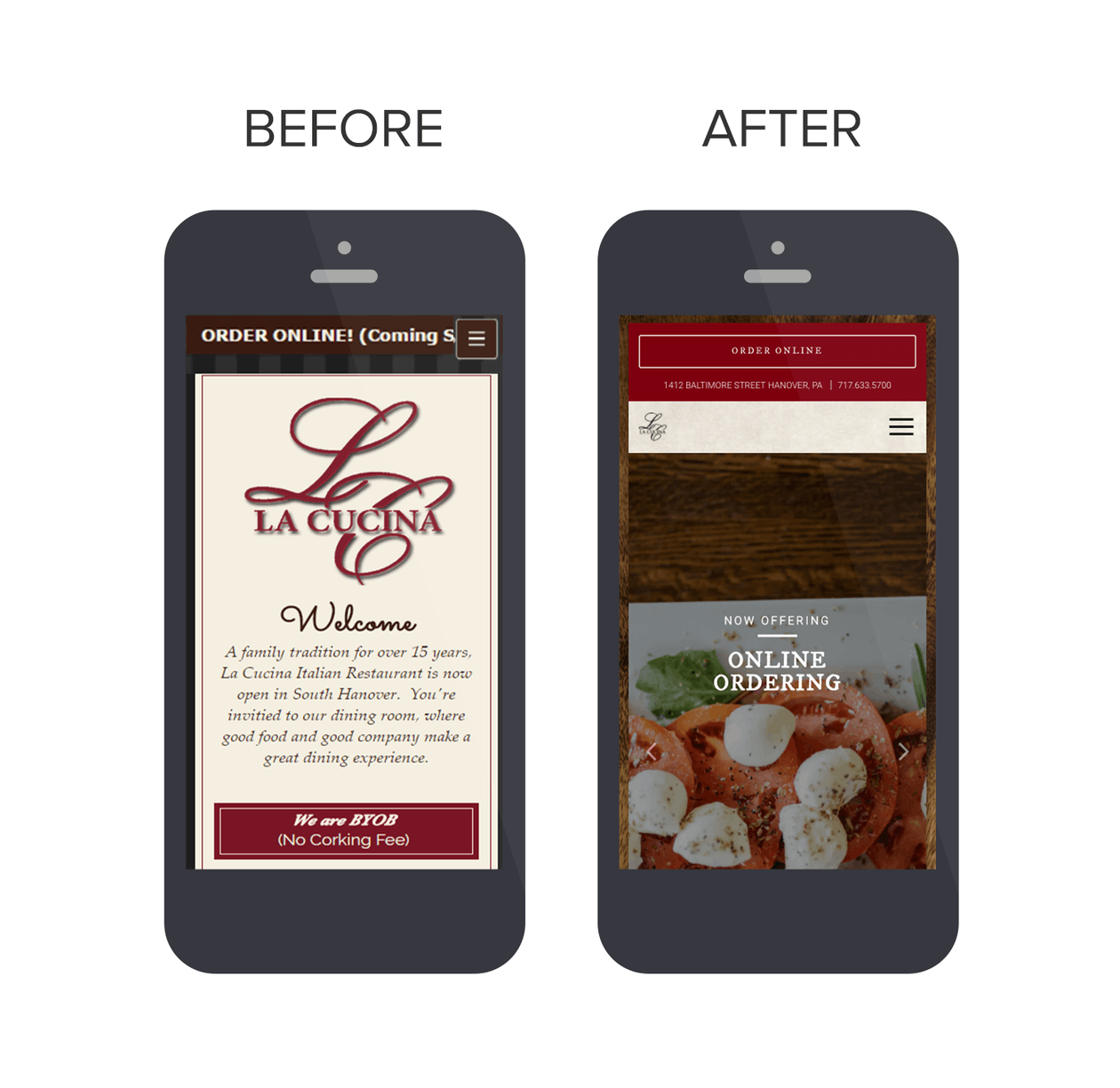 La Cucina website before and after shoots