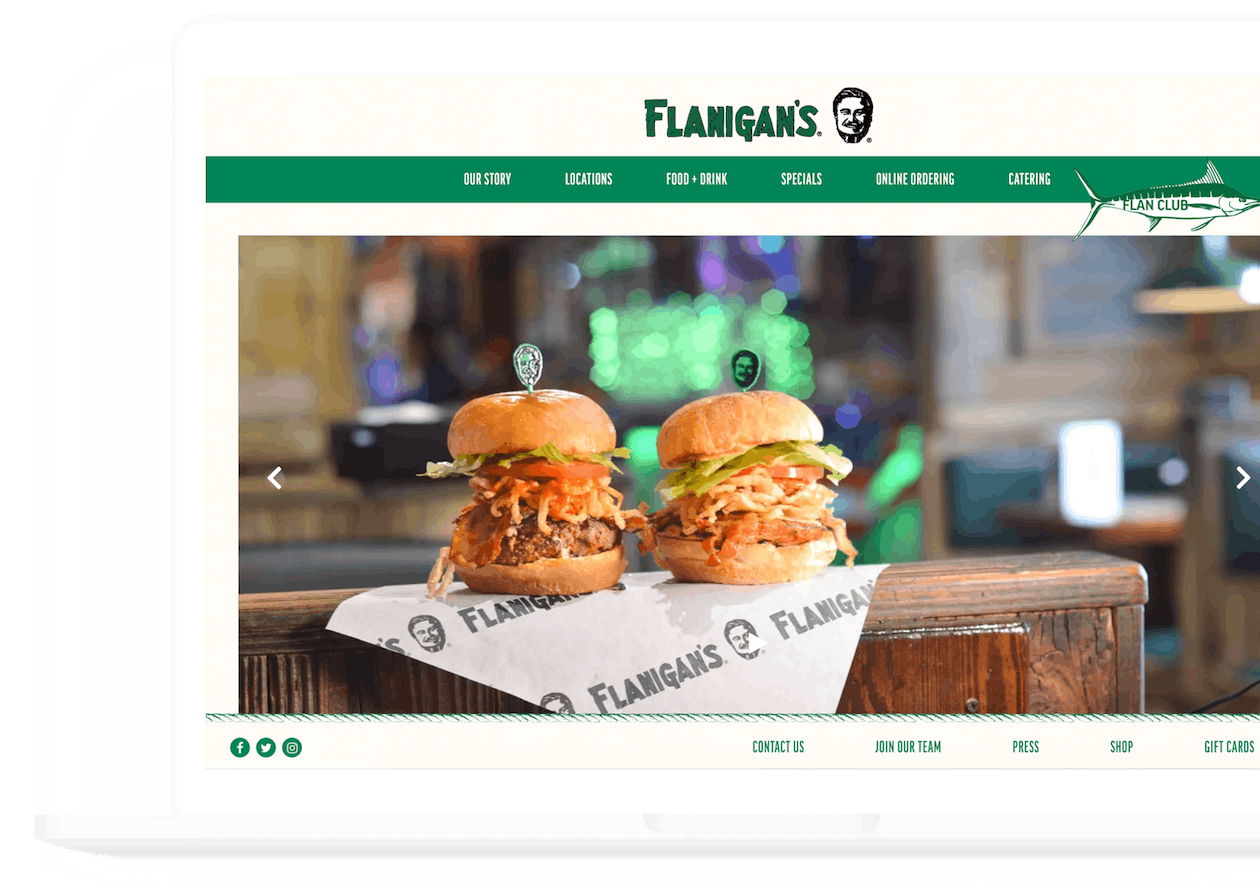 a screenshot of flanigan's website