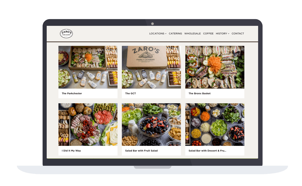 Zaro's catering store on their website