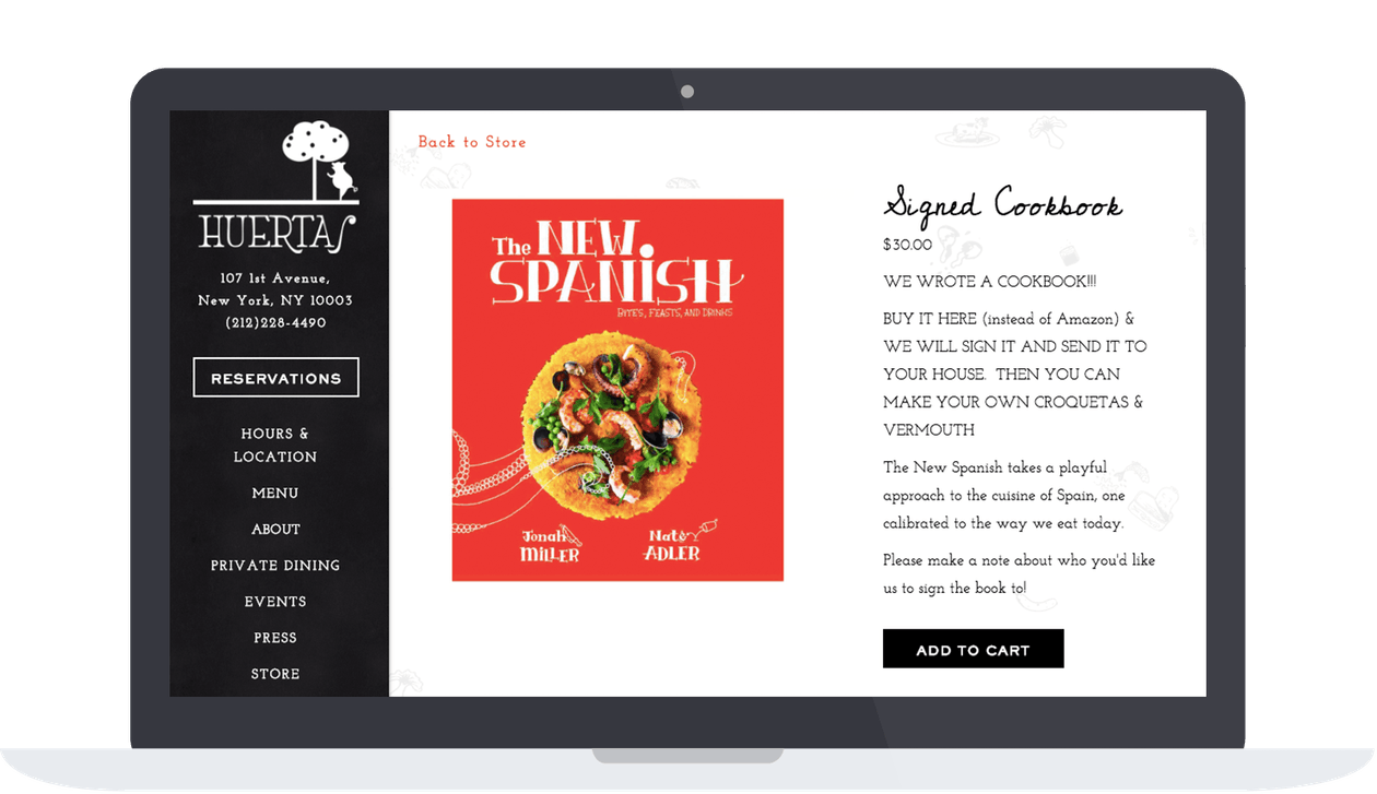 Huerta website's online store where they sell their cookbook