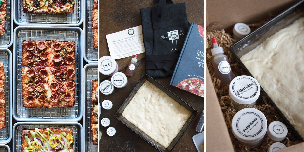 Left to Right: Signature pizza and virtual pizza making kit plus cookbook