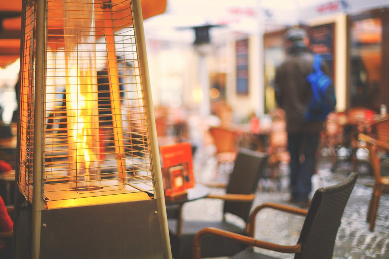 An outdoor heater at a restaurant