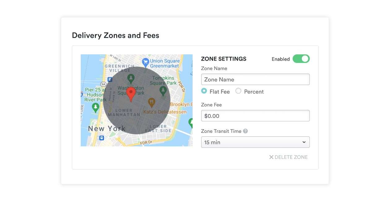 An example of how restaurants can set tiered delivery zones with Bento Ordering