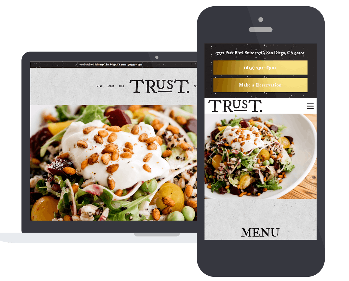 A screenshot of a restaurant website on a laptop and mobile phone.