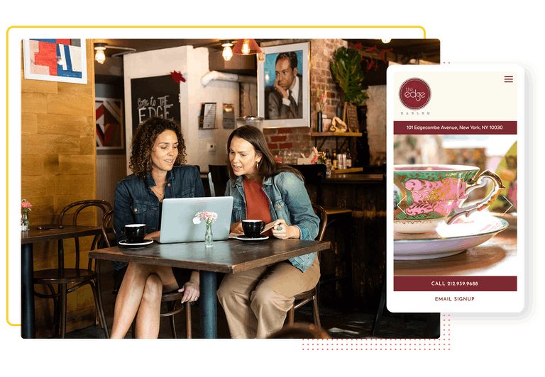 a composite of two people working at a cafe and the mobile version of a homepage